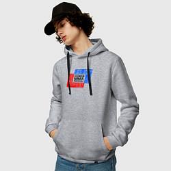 Мужская толстовка с капюшоном с принтом Союз MMA России, цвет: меланж, артикул: 10276089100010 — фото 2