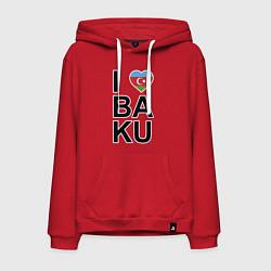 Толстовка-худи хлопковая мужская Baku цвета красный — фото 1