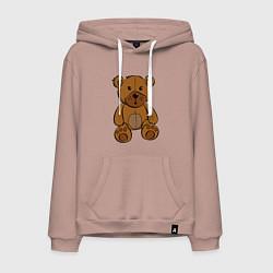 Толстовка-худи хлопковая мужская Плюшевый медведь цвета пыльно-розовый — фото 1
