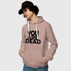 Толстовка-худи хлопковая мужская DayZ: You are Dead цвета пыльно-розовый — фото 2