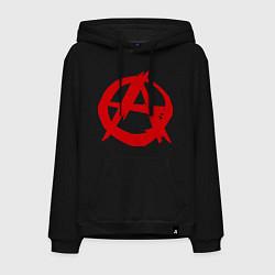 Толстовка-худи хлопковая мужская Символ анархии цвета черный — фото 1