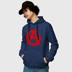 Толстовка-худи хлопковая мужская Символ анархии цвета тёмно-синий — фото 2