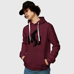 Толстовка-худи хлопковая мужская MJ Music цвета меланж-бордовый — фото 2