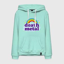 Толстовка-худи хлопковая мужская Death Metal: Rainbow цвета мятный — фото 1