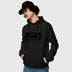 Толстовка-худи хлопковая мужская Фольцваген гольф цвета черный — фото 2