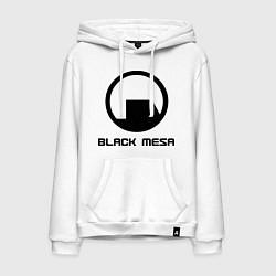 Толстовка-худи хлопковая мужская Black Mesa: Logo цвета белый — фото 1
