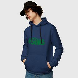 Толстовка-худи хлопковая мужская Sims цвета тёмно-синий — фото 2