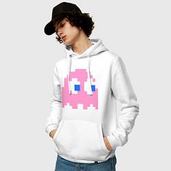 Толстовка-худи хлопковая мужская Pac-Man: Pinky цвета белый — фото 2