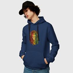 Толстовка-худи хлопковая мужская Rasta Lion цвета тёмно-синий — фото 2