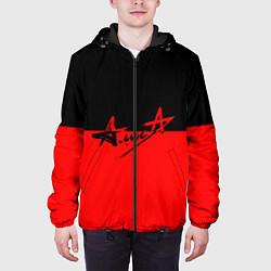Куртка с капюшоном мужская АлисА: Черный & Красный цвета 3D-черный — фото 2