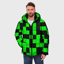 Куртка зимняя мужская ЗЕЛЕНЫЕ КУБИКИ цвета 3D-черный — фото 2