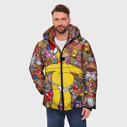 Куртка зимняя мужская Обжора Гомер цвета 3D-черный — фото 2