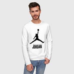 Лонгслив хлопковый мужской Jordan Style цвета белый — фото 2