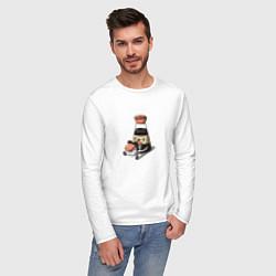 Лонгслив хлопковый мужской Милый Соевый соус цвета белый — фото 2