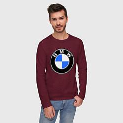 Лонгслив хлопковый мужской Logo BMW цвета меланж-бордовый — фото 2