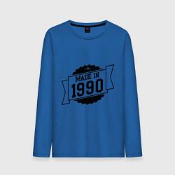Лонгслив хлопковый мужской Made in 1990 цвета синий — фото 1