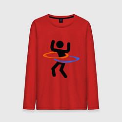Лонгслив хлопковый мужской Portal Рoops цвета красный — фото 1