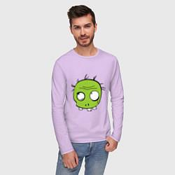 Лонгслив хлопковый мужской Zombie (plant) цвета лаванда — фото 2