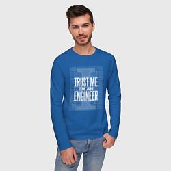 Лонгслив хлопковый мужской I'm an Engineer цвета синий — фото 2