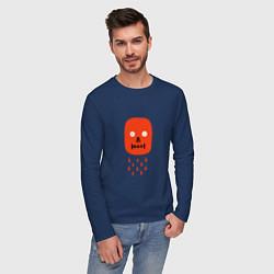 Лонгслив хлопковый мужской Кнопка психодел цвета тёмно-синий — фото 2