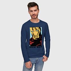 Лонгслив хлопковый мужской Iron Man цвета тёмно-синий — фото 2