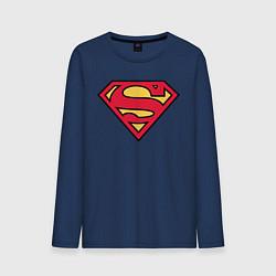 Лонгслив хлопковый мужской Superman logo цвета тёмно-синий — фото 1