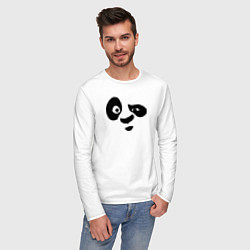 Лонгслив хлопковый мужской Панда цвета белый — фото 2