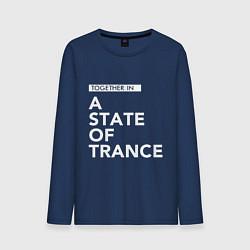 Лонгслив хлопковый мужской Together in A State of Trance цвета тёмно-синий — фото 1