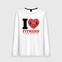 Лонгслив хлопковый мужской I love Fitness цвета белый — фото 1