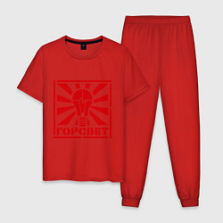 Пижама хлопковая мужская Горсвет цвета красный — фото 1