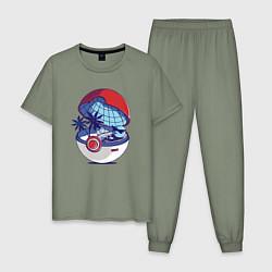 Пижама хлопковая мужская Покеболл 1 цвета авокадо — фото 1