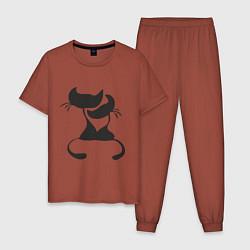 Пижама хлопковая мужская Кошки LOVE цвета кирпичный — фото 1