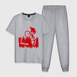 Пижама хлопковая мужская Велосипед цвета меланж — фото 1
