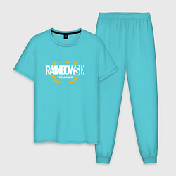 Пижама хлопковая мужская Rainbow six | Siege : Pro league (white) цвета бирюзовый — фото 1