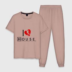 Пижама хлопковая мужская I love House MD цвета пыльно-розовый — фото 1