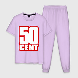 Пижама хлопковая мужская 50 cent цвета лаванда — фото 1