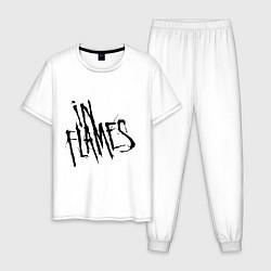 Пижама хлопковая мужская In Flames цвета белый — фото 1