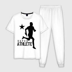 Пижама хлопковая мужская Лёгкая атлетика цвета белый — фото 1