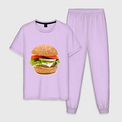 Пижама хлопковая мужская Гамбургер цвета лаванда — фото 1