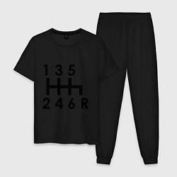 Пижама хлопковая мужская Коробка передач цвета черный — фото 1
