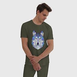 Пижама хлопковая мужская Полигональный волк цвета меланж-хаки — фото 2