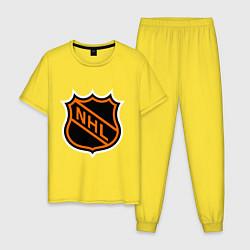 Пижама хлопковая мужская NHL цвета желтый — фото 1