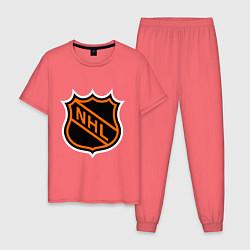 Пижама хлопковая мужская NHL цвета коралловый — фото 1