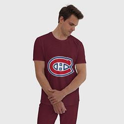 Пижама хлопковая мужская Montreal Canadiens цвета меланж-бордовый — фото 2