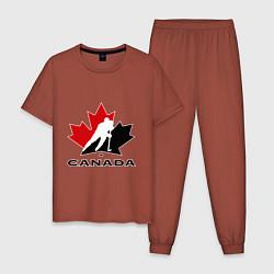 Пижама хлопковая мужская Canada цвета кирпичный — фото 1