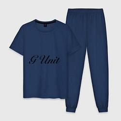 Пижама хлопковая мужская G unit цвета тёмно-синий — фото 1
