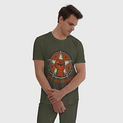 Пижама хлопковая мужская No Pasaran цвета меланж-хаки — фото 2
