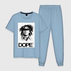 Пижама хлопковая мужская Bob Marley Dope цвета мягкое небо — фото 1