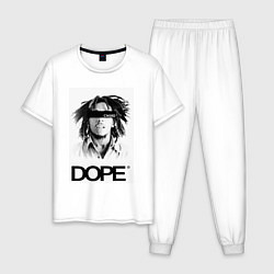 Пижама хлопковая мужская Bob Marley Dope цвета белый — фото 1