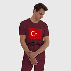 Пижама хлопковая мужская Turkey цвета меланж-бордовый — фото 2
